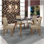 Conjunto Mesa Lavinia 4 Cadeiras Pampulha C/vidro Preto-linho Bege/off/imbuia Mel