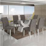 Conjunto Mesa Olimpia New 1,80x0,90m 6 Cadeiras Linho Cinza - 7337.39.1.4 Leifer