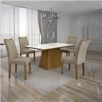 Conjunto Mesa Pampulha 1,20x0,80m com 4 Cadeiras Vidro Branco Linho Bege Imbuia - Leifer