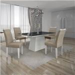 Conjunto Mesa Pampulha 1,20x0,80m com 4 Cadeiras Vidro Preto Linho Bege Branco - Leifer