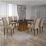 Conjunto Mesa Pampulha 1,80m com 6 Cadeiras Vidro Preto Linho Bege