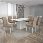 Conjunto Mesa Pampulha 1,80x0,90m 6 Cadeiras Vidro Branco Linho Bege - 7340.38.1.24 Leifer