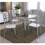Conjunto Mesa Quadrada Vidro e 4 Cadeiras Alemanha Kappesberg - Cromado/Branco