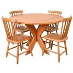 Conjunto Mesa Redonda 1,20m com 4 Cadeiras Country G em Madeira de Lei Maciça