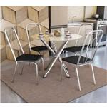 Conjunto Mesa Redonda de Vidro e 4 Cadeiras Kappesberg - Cromado/Preto