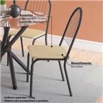 Conjunto Mesa Redonda de Vidro e 4 Cadeiras Noruega Kappesberg - Preto/Nude