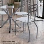 Conjunto Mesa Redonda de Vidro e 4 Cadeiras Portugal Kappesberg - Cromado/Branco
