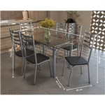 Conjunto Mesa Retangular de Vidro e 6 Cadeiras Kappesberg - Cromado/Preto