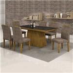Conjunto Mesa Sevilha 1,70m com 6 Cadeiras Sevilha Vidro Preto