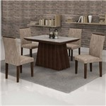 Conjunto Mesa Sevilha 120x90 Cm C/ 4 Cadeiras Sevilha Vidro Off White - Cel Móveis