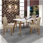 Conjunto Mesa Tampo de Vidro Branco Lavínia e 4 Cadeiras Olímpia Leifer Imbuia Mel/Branco/Linho
