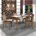 Conjunto Mesa Tampo de Vidro Branco Lavínia e 4 Cadeiras Olímpia Leifer Imbuia Mel/Imbuia