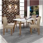 Conjunto Mesa Tampo de Vidro Branco Lavínia e 4 Cadeiras Pampulha Leifer Imbuia Mel/Branco/Linho