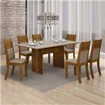 Conjunto Mesa Tampo de Vidro Off White Florença e 6 Cadeiras Havaí Leifer Canela/Linho Bege
