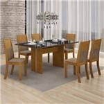 Conjunto Mesa Tampo de Vidro Preto Florença e 6 Cadeiras Havaí Leifer Imbuia Mel/Animale