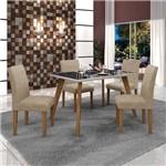 Conjunto Mesa Tampo de Vidro Preto Lavínia e 4 Cadeiras Olímpia Leifer Imbuia Mel/Off White/Linho
