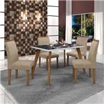 Conjunto Mesa Tampo de Vidro Preto Lavínia e 4 Cadeiras Pampulha Leifer Imbuia Mel/Branco/Linho