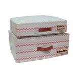 Conjunto Organizador para Mantas e Cobertores e Edredons Grande - Chevron Salmão