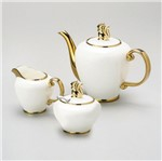 Conjunto para Cafe Supre White Charme 3 Pecas Branco e Dourado