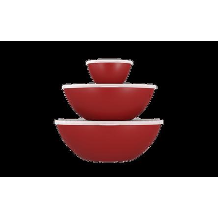 Conjunto 3 Peças C/ Tampa Essencial 29,8x28,5x10,7cm 29,8x28,5x10,7cm Vermelho Bold Coza