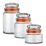 Conjunto 3 Potes de Vidro Multiuso Laranja Euro