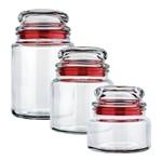 Conjunto 3 Potes de Vidro Multiuso Vermelho Euro
