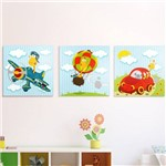 Conjunto Quadro Decorativo Infantil Canvas Girafas
