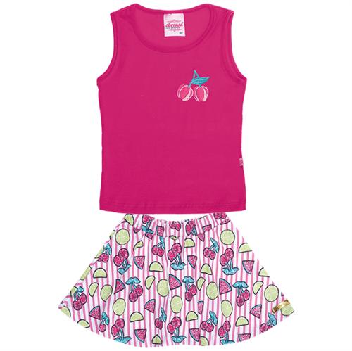 Conjunto Regata e Saia Shorts Pink/chiclete 11093 0000v2 04