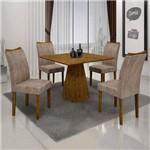 Conjunto Sala de Janta Mesa Quadrada Itália 4 Cadeiras Pampulha Leifer Canela/Canela/Capuccino