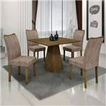 Conjunto Sala de Janta Mesa Quadrada Itália 4 Cadeiras Pampulha Leifer Ype/Ype/Capuccino