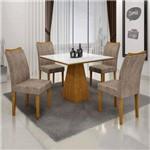 Conjunto Sala de Janta Mesa Quadrada Tampo Branco 4 Cadeiras Pampulha Leifer Imbuia
