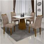 Conjunto Sala de Janta Mesa Quadrada Tampo Branco 4 Cadeiras Pampulha Leifer