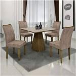Conjunto Sala de Janta Mesa Quadrada Tampo Off White 4 Cadeiras Pampulha Leifer Ype/Off
