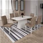 Conjunto Sala de Janta Mesa Tampo Branco 6 Cadeiras Olimpia Leifer Branco/Branco/Capuccino