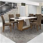 Conjunto Sala de Janta Mesa Tampo Branco 6 Cadeiras Pampulha Leifer Imbuia Mel/Branco/Capuccino