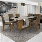 Conjunto Sala de Janta Mesa Tampo Off White 6 Cadeiras Pampulha Leifer Imbuia Mel/Off