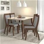 Conjunto Sala de Jantar 4 Cadeiras Imbuia Soft Off White Linho Rinzai Cinza