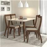 Conjunto Sala de Jantar 4 Cadeiras Imbuia Soft Off White Veludo Naturale Creme