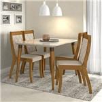 Conjunto Sala de Jantar 4 Cadeiras Rovere Soft Off White Linho Rinzai Bege