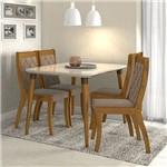 Conjunto Sala de Jantar 4 Cadeiras Rovere Soft Off White Suede Animale Bege