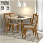 Conjunto Sala de Jantar 4 Cadeiras Rovere Soft Off White Veludo Naturale Creme