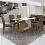 Conjunto Sala de Jantar 6 Cadeiras Ana Siena Móveis Imbuia Mel/Off White/Capuccino