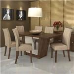 Conjunto Sala de Jantar 6 Cadeiras Imbuia Linho Rinzai Bege