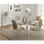 Conjunto Sala de Jantar Carraro Mesa 326 + 4 Cadeiras 399 + Aparador de Canto 323 - Cromado/étnico S