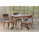 Conjunto Sala de Jantar com Mesa Branco Gloss com Natural e 4 Cadeiras Alpha 80, Guardian