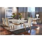 Conjunto Sala de Jantar com Mesa Charlotte e 4 Cadeiras Veludo Creme, Charlotte