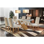 Conjunto Sala de Jantar com Mesa Fernie e 6 Cadeiras Veludo Creme, Fernie
