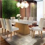 Conjunto Sala de Jantar com Mesa Flat II e 6 Cadeiras Veludo Creme, Fernie
