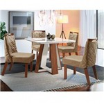 Conjunto Sala de Jantar Grécia 4 Cadeiras Áres Premium Siena Móveis Marrom/Caramelo