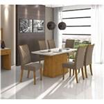 Conjunto Sala de Jantar Lopas Nevada com Mesa Vidro Off White 1,80 com 6 Cadeiras Apogeu em Tecido Suede Bege - Rovere